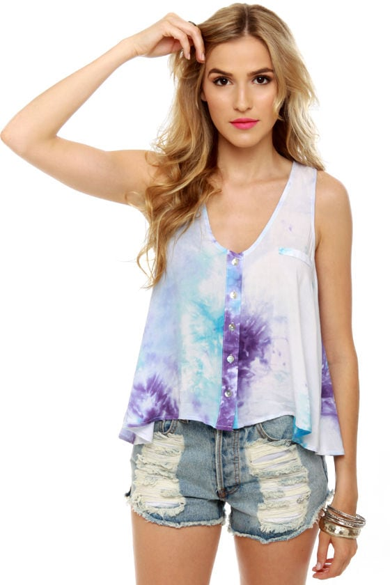 Cosmic Storm Purple Tie-Dye Top