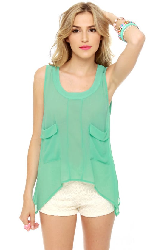 Ikebana Sheer Mint Top at Lulus.com!