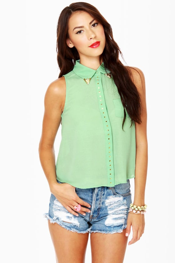 Hip Tips Sleeveless Mint Top