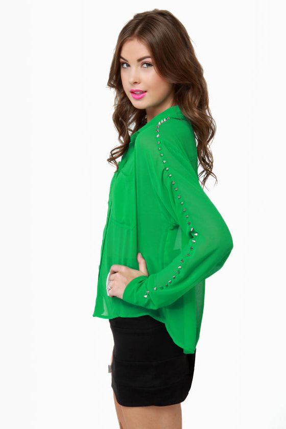 All of a Stud-den Sheer Green Top at Lulus.com!