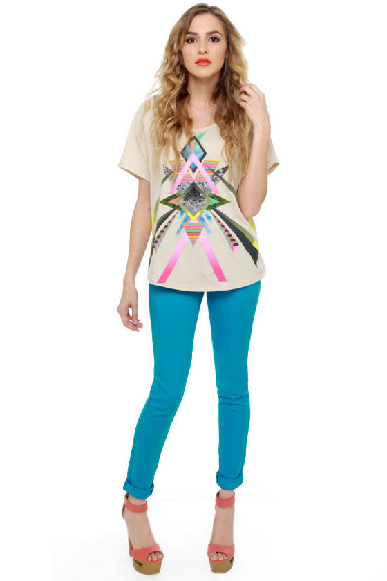 Moves Like Jagger Aqua Blue Jeggings