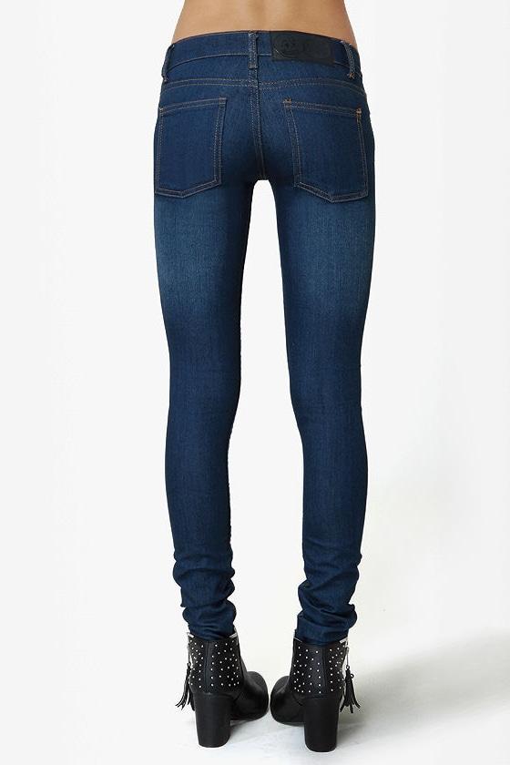 Cheap Monday Zip Low Medium Wash Skinny Jeans
