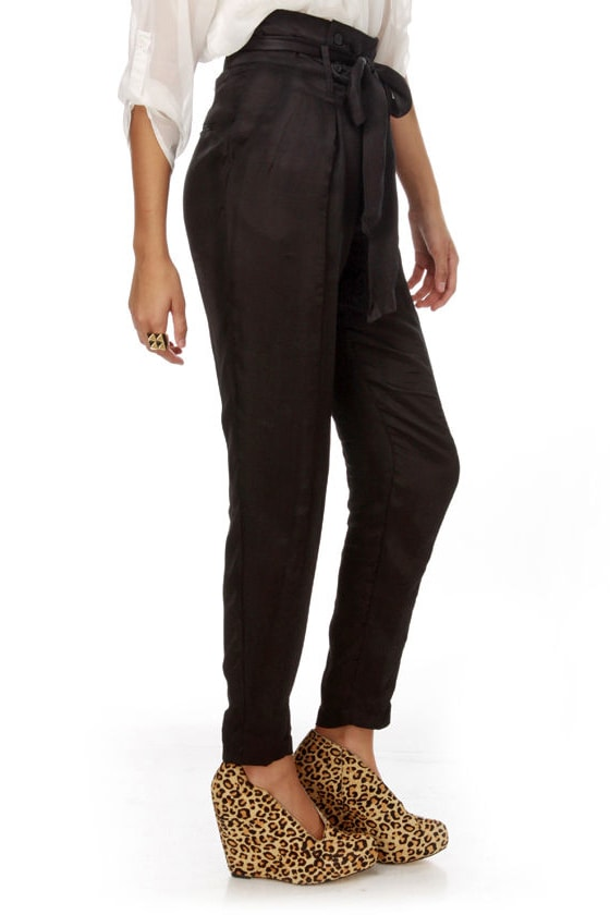 Dapper Affair High Waisted Black Pants