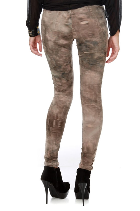 Destruction Derby Slashed Brown Leggings