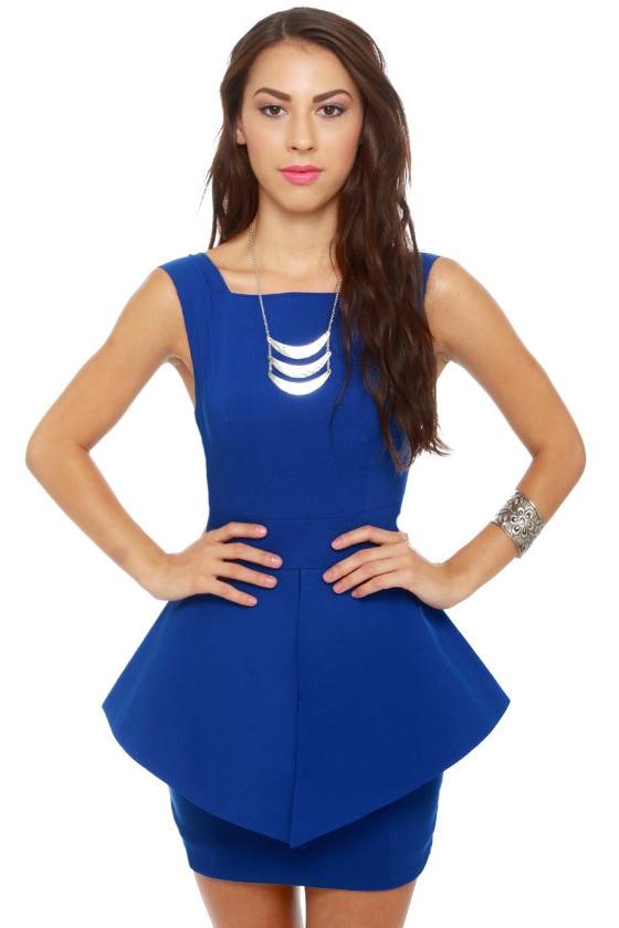 Structured Peplum Dress - Royal Blue Dress - $58.00