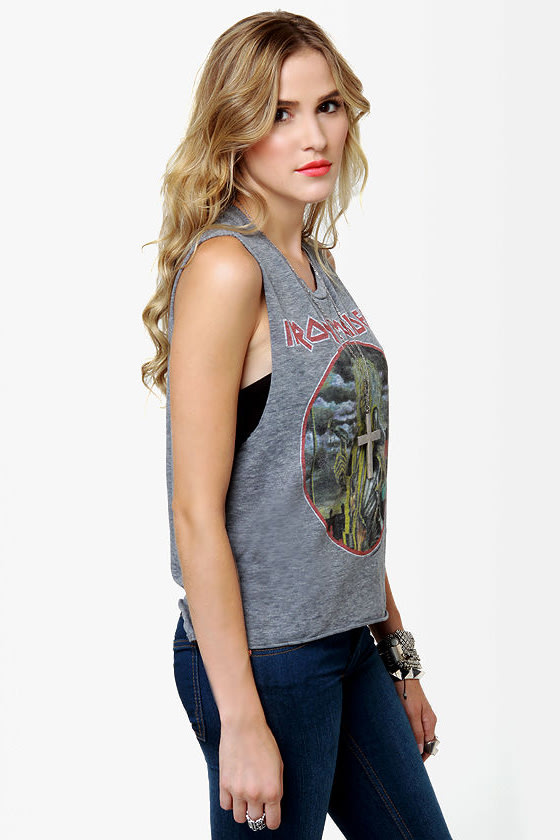 Chaser Iron Maiden Grey Muscle Tee