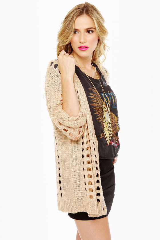 Honey Wheat Waffles Beige Cardigan Sweater at Lulus.com!
