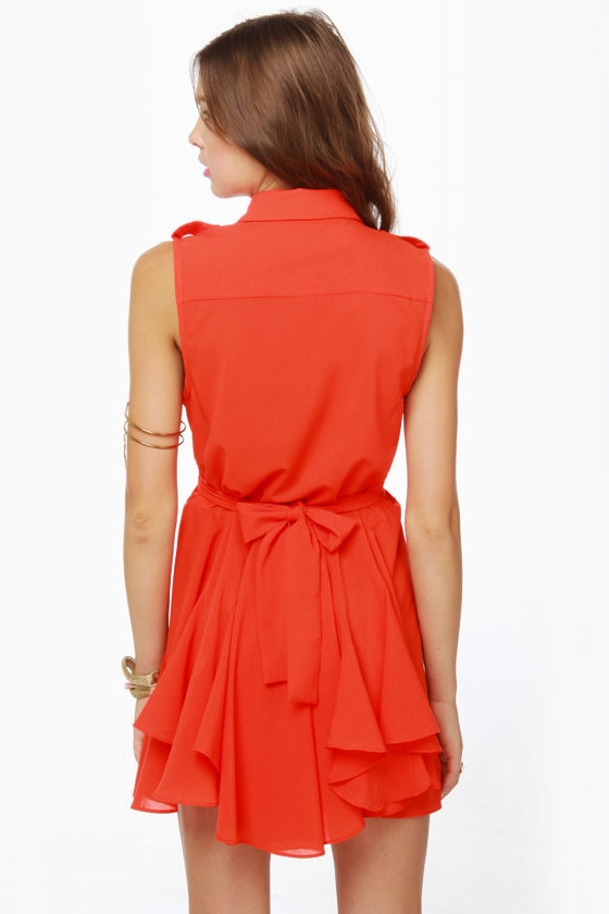 American Flare-lines Coral Red Dress at Lulus.com!