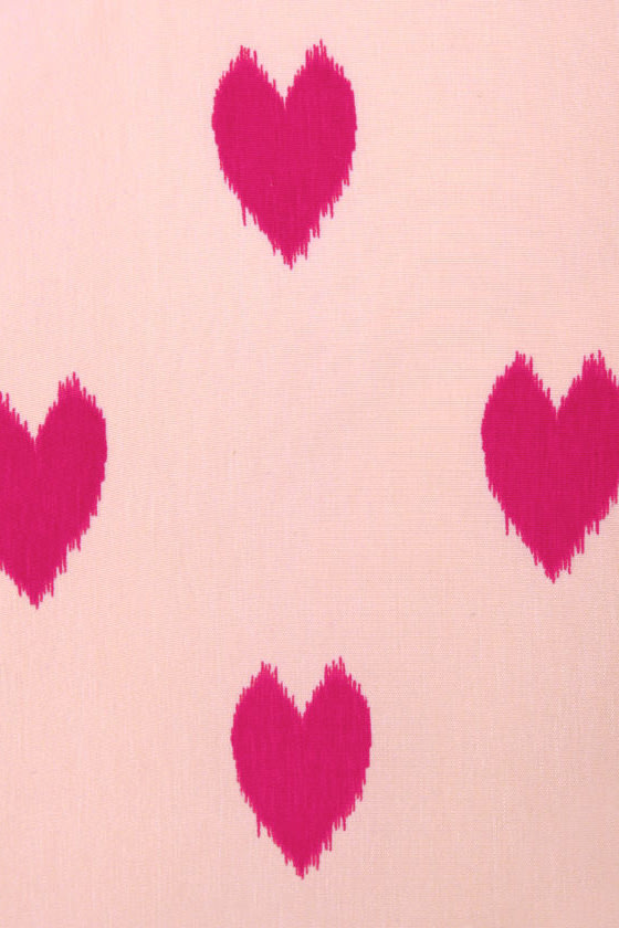 Heartfelt Love Pink Heart Print Dress at Lulus.com!