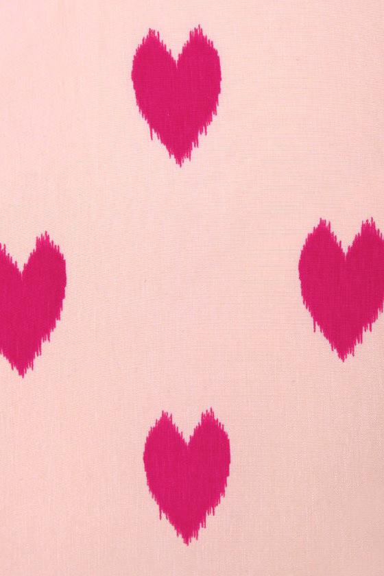 Heartfelt Love Pink Heart Print Dress