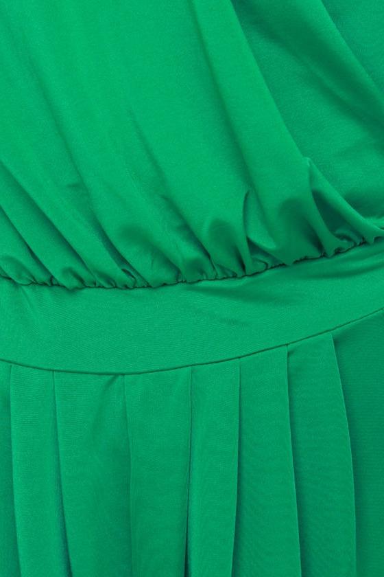 All Seven Veils One Shoulder Green Romper