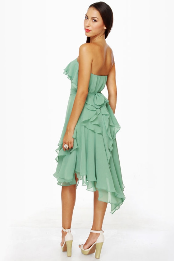 Frilled to be Here Strapless Sage Green Dress at Lulus.com!