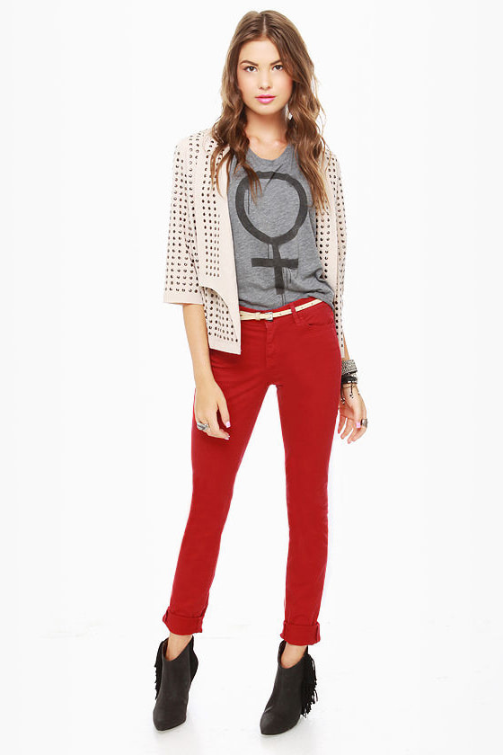 Dittos Dawn Mid Rise Red Skinny Jeans