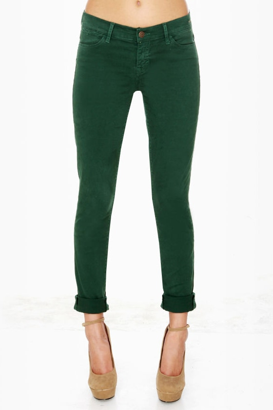 Dittos Dawn Mid Rise Green Skinny Jeans at Lulus.com!