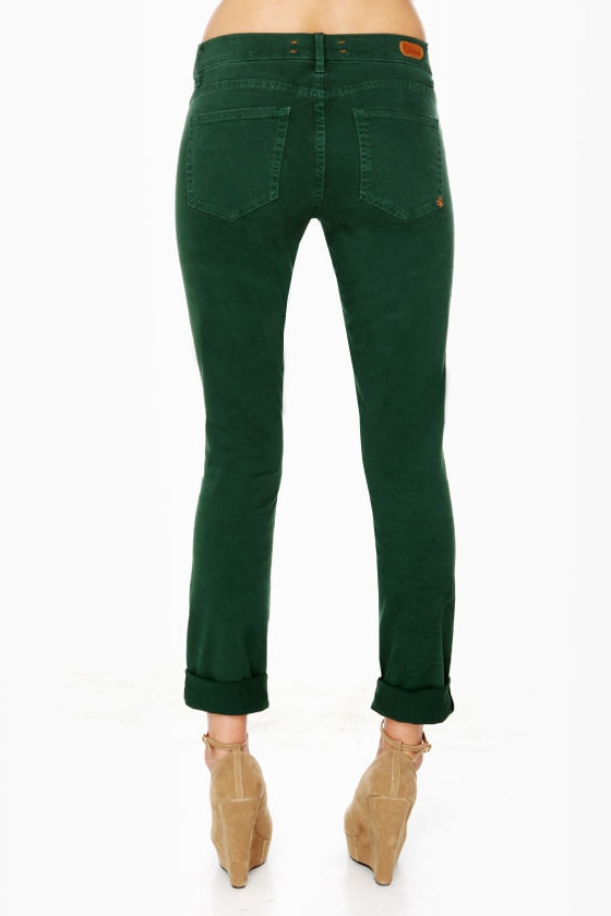 Dittos Dawn Mid Rise Green Skinny Jeans