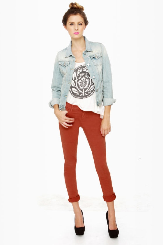 Dittos Dawn Orange Jeans - Skinny Jeans - Mid Rise Jeans - $62.00