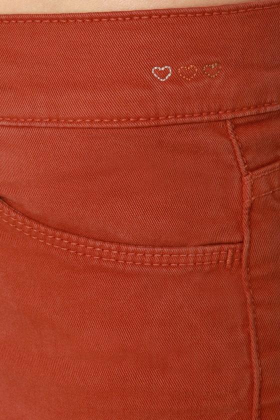 Dittos Dawn Mid Rise Burnt Orange Skinny Jeans
