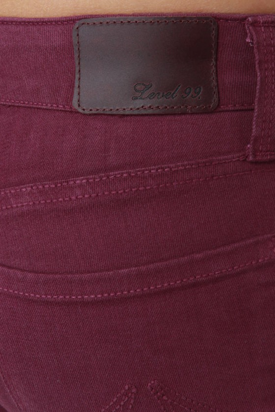 Level 99 Janice Ultra Skinny Burgundy Jeggings