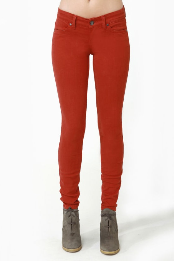Level 99 Janice Ultra Skinny Rust Red Jeggings
