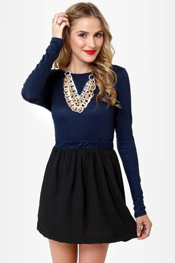 Blocking Traffic Black and Navy Blue Dress