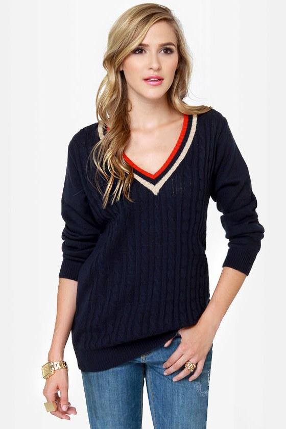 Fairway Tale Navy Blue Sweater
