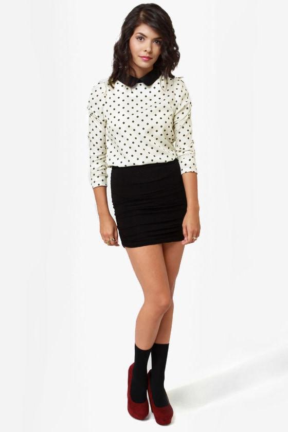 Kylie Cream Polka Dot Top