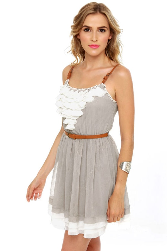 Gold Dust Woman Light Grey Dress at Lulus.com!