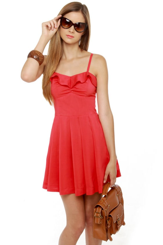 Just Wanna Have Fun Coral Red Dress at Lulus.com!