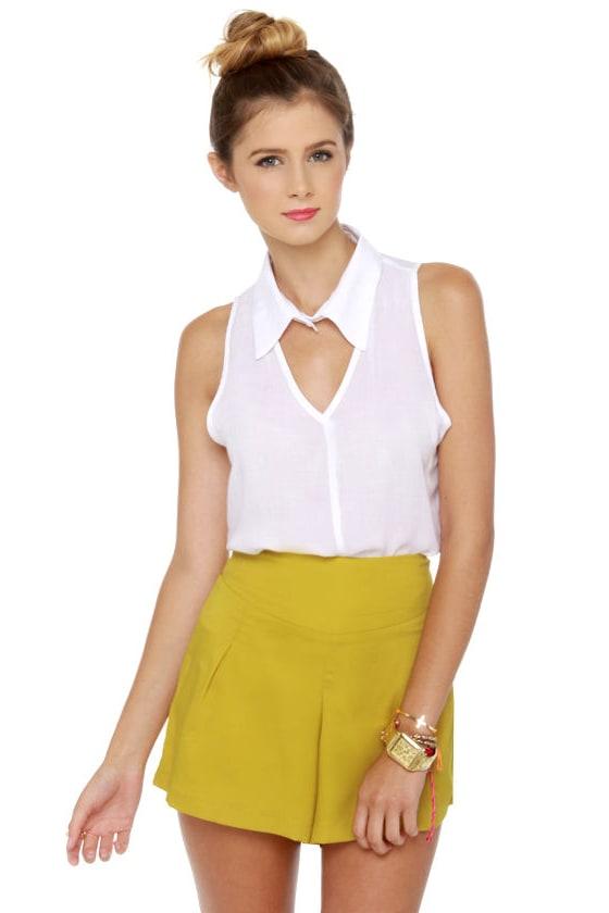 Cute Yellow Shorts - Silky Shorts - High Waisted Shorts - $30.00