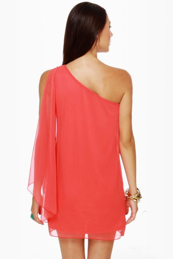 Flame Kissed One Shoulder Coral Red Dress