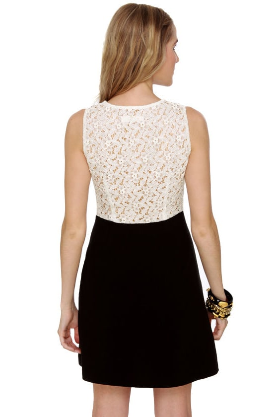 Hillary Black and Beige Lace Dress