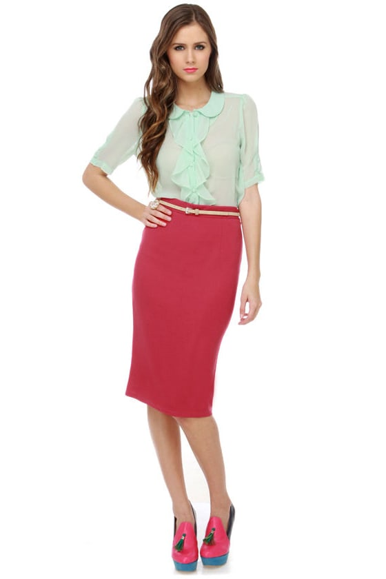 Elle Woods Berry Red Pencil Skirt at Lulus.com!