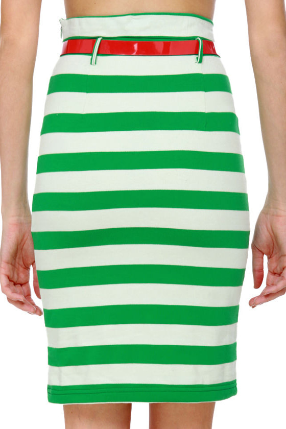 Workin\\\' Like Birkin Striped Green Pencil Skirt