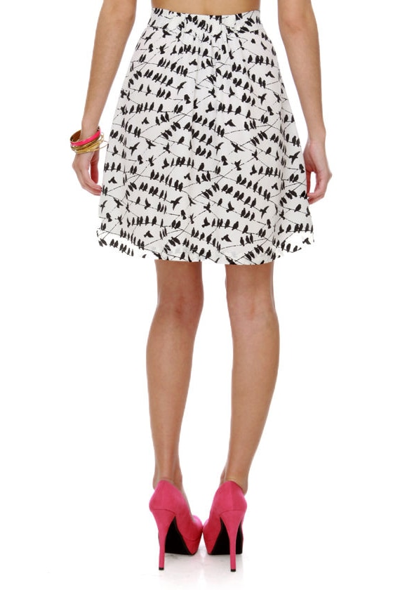On the Wire Bird Print Skirt