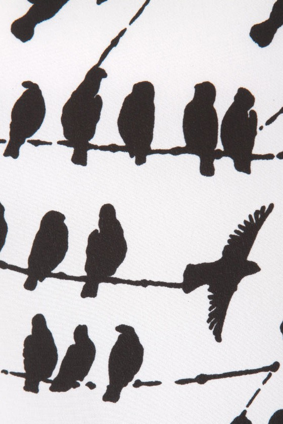 On the Wire Bird Print Skirt