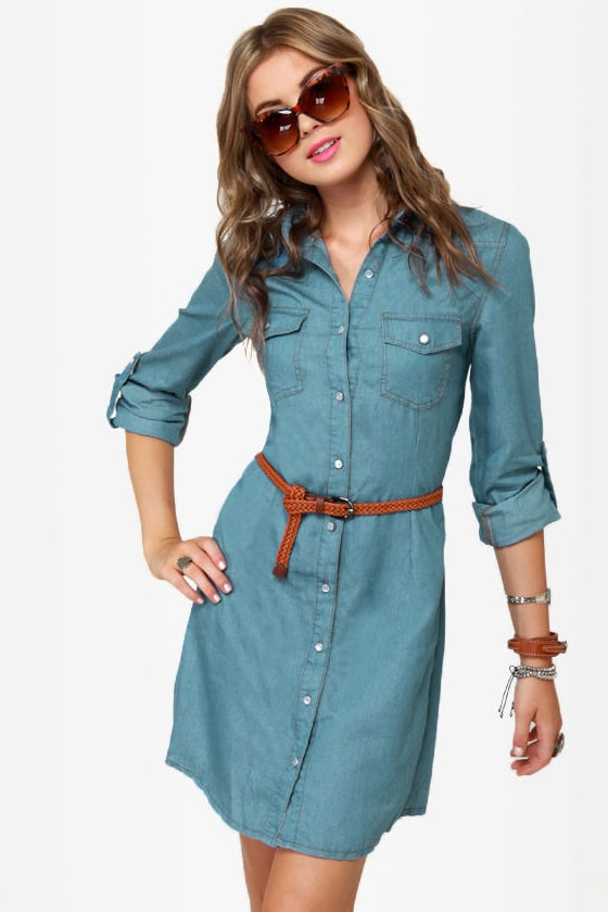 Off the Beaten Path Denim Shirt Dress