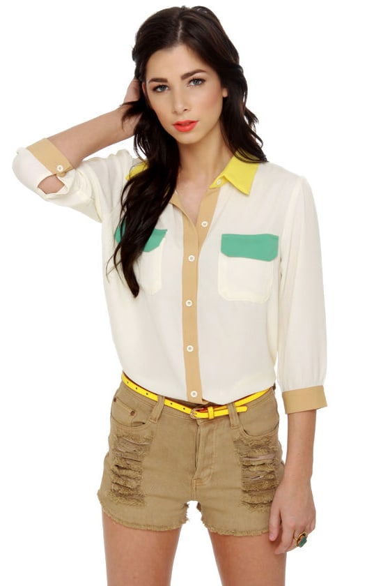 Craft Fair Cream Button-Up Top