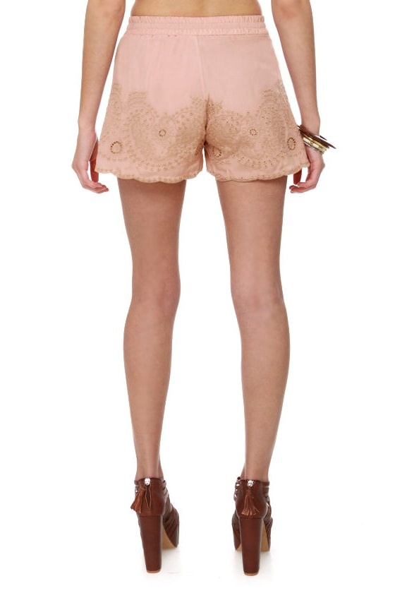 Maharani Blush Embroidered Shorts at Lulus.com!