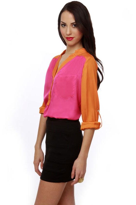 Muralist Orange and Pink Top
