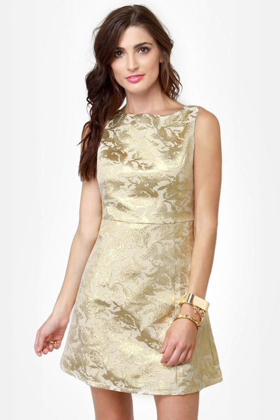 Beautiful Gold Dress Brocade Dress 48 00
