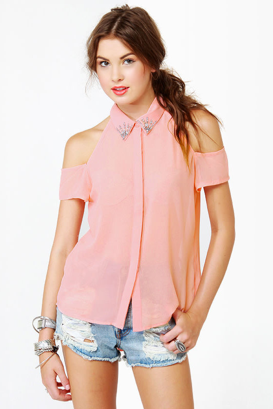 Glamorama Sheer Coral Pink Top