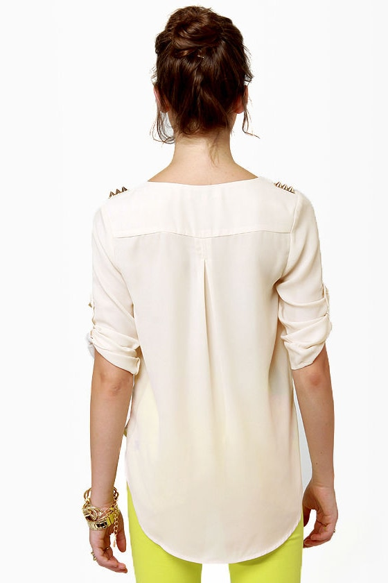 We Will Rock You Studded Cream Top at Lulus.com!