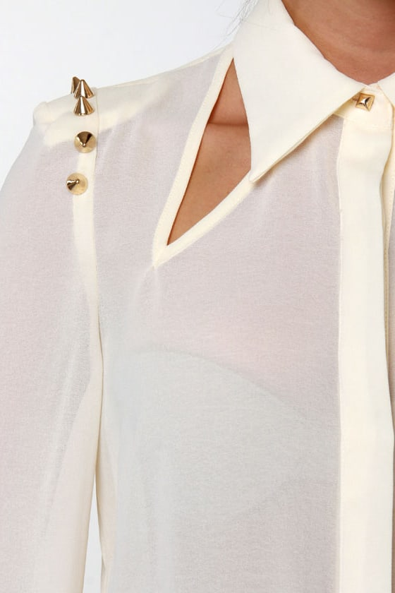 Masters in Spike-ology Sheer Studded Cream Top