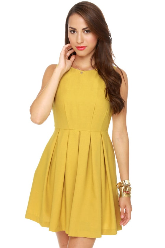classic yellow dress  sleeveless dress  mustard dress