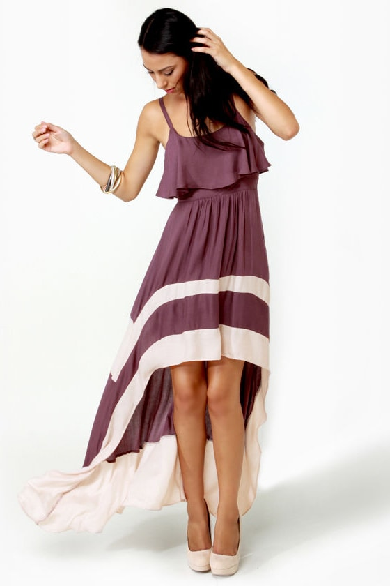 Merrily Rolling Along High Low Purple Dress