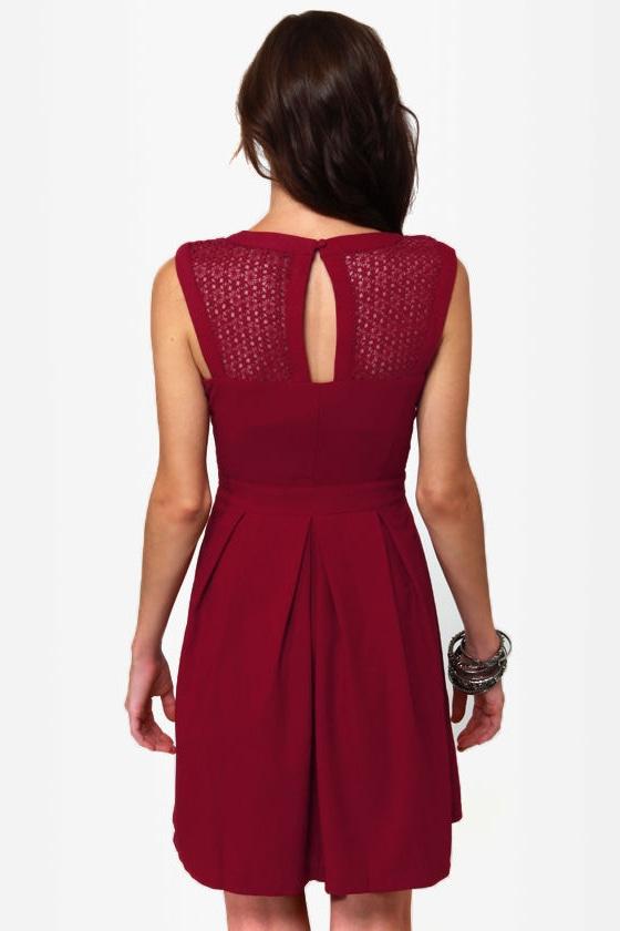 Fair Rosaline Burgundy Lace Dress