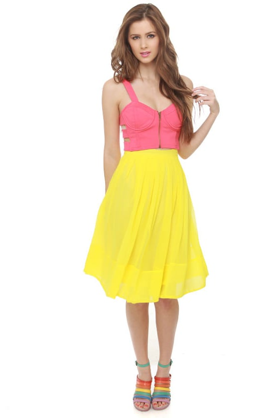 Daffodil-ettante Yellow Pleated Skirt