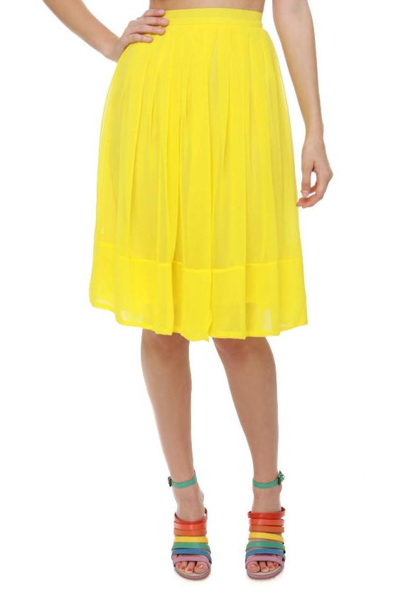 743f8ebe74 Pretty Pleated Skirt - Yellow Skirt - Knee Length Skirt - $57.00