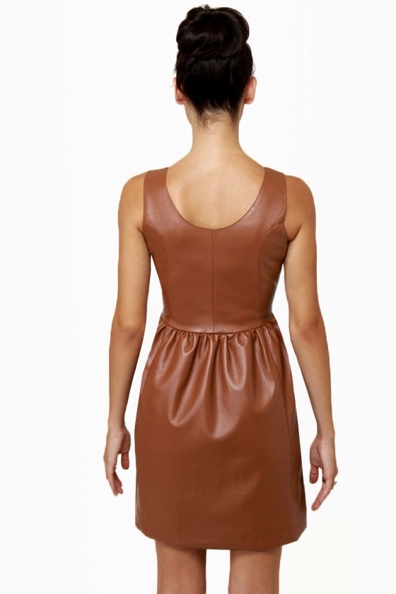 Animal Instincts Brown Vegan Leather Dress