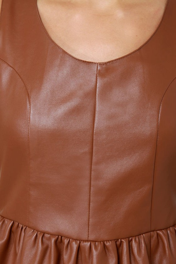 Animal Instincts Brown Vegan Leather Dress at Lulus.com!